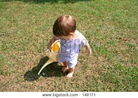 Baby Girl Watering