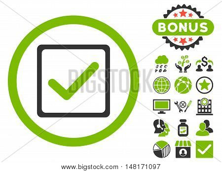 Checkbox icon with bonus design elements. Vector illustration style is flat iconic bicolor symbols, eco green and gray colors, white background.