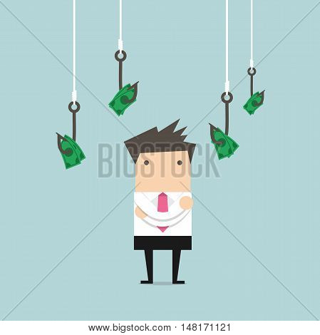 Businessman selects one of fishing hooks with money. vector