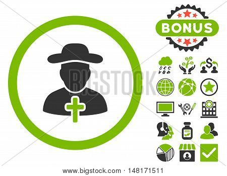 Clergy icon with bonus pictogram. Vector illustration style is flat iconic bicolor symbols, eco green and gray colors, white background.