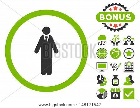 Clerk icon with bonus pictogram. Vector illustration style is flat iconic bicolor symbols, eco green and gray colors, white background.