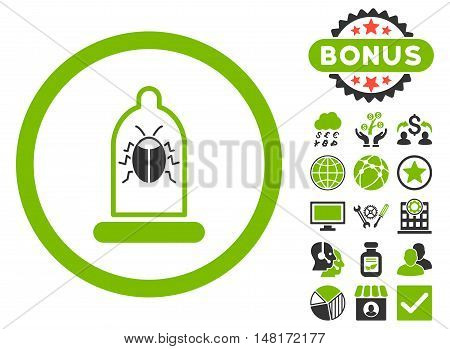 Condom Bug icon with bonus images. Vector illustration style is flat iconic bicolor symbols, eco green and gray colors, white background.