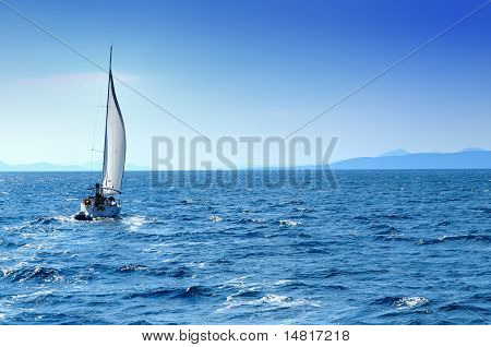 luxury boat traveling on sea