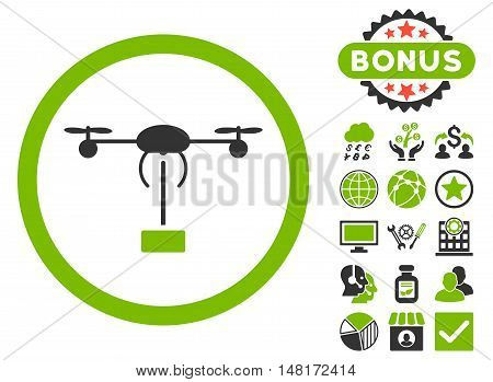Copter Shipment icon with bonus pictures. Vector illustration style is flat iconic bicolor symbols, eco green and gray colors, white background.