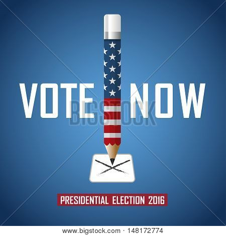 Vote now. 2016 USA presidential election campaign. Vector illustration.