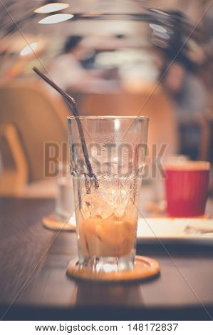 After Drink Delicious Ice Coffee In Empty Glass