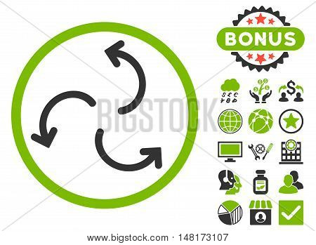 Cyclone Arrows icon with bonus images. Vector illustration style is flat iconic bicolor symbols, eco green and gray colors, white background.