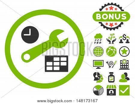 Date and Time Setup icon with bonus pictogram. Vector illustration style is flat iconic bicolor symbols, eco green and gray colors, white background.