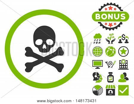 Death icon with bonus pictogram. Vector illustration style is flat iconic bicolor symbols, eco green and gray colors, white background.