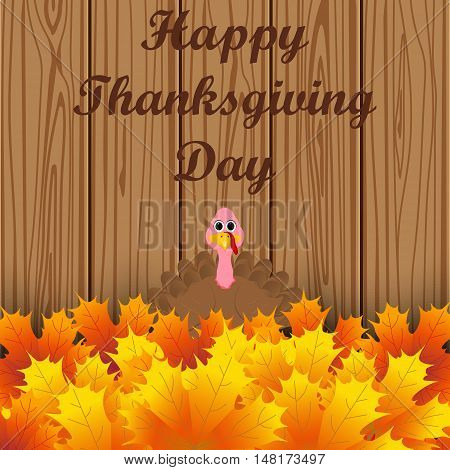 Turkey peeking out from autumn leaves and wishes everyone a happy Thanksgiving. Postcard on Thanksgiving Day, vector illustration.