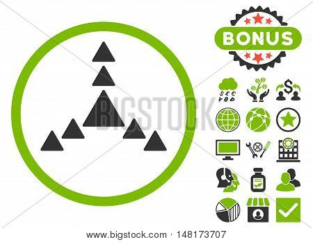 Direction Triangles icon with bonus symbols. Vector illustration style is flat iconic bicolor symbols, eco green and gray colors, white background.