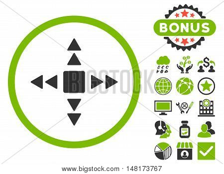 Direction Triangles icon with bonus design elements. Vector illustration style is flat iconic bicolor symbols, eco green and gray colors, white background.