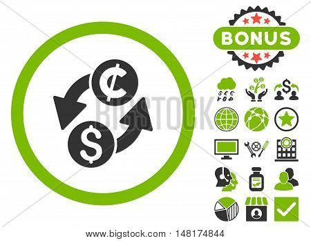 Dollar Cent Exchange icon with bonus images. Vector illustration style is flat iconic bicolor symbols, eco green and gray colors, white background.