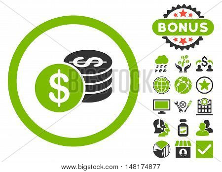 Dollar Coins icon with bonus pictogram. Vector illustration style is flat iconic bicolor symbols, eco green and gray colors, white background.