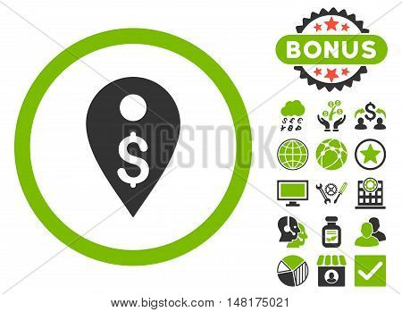 Dollar Map Marker icon with bonus elements. Vector illustration style is flat iconic bicolor symbols, eco green and gray colors, white background.