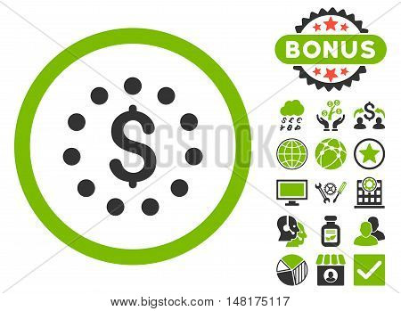 Dollar Sign icon with bonus pictures. Vector illustration style is flat iconic bicolor symbols, eco green and gray colors, white background.