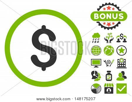 Dollar icon with bonus pictures. Vector illustration style is flat iconic bicolor symbols, eco green and gray colors, white background.