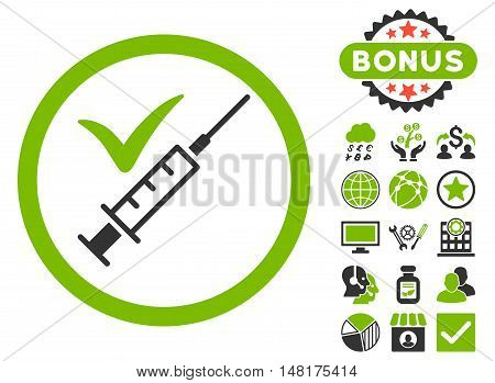 Done Vaccination icon with bonus images. Vector illustration style is flat iconic bicolor symbols, eco green and gray colors, white background.