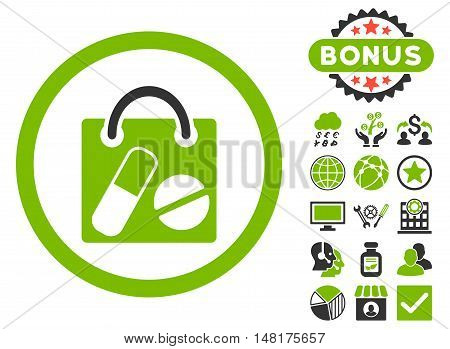 Drugs Shopping Bag icon with bonus design elements. Vector illustration style is flat iconic bicolor symbols, eco green and gray colors, white background.