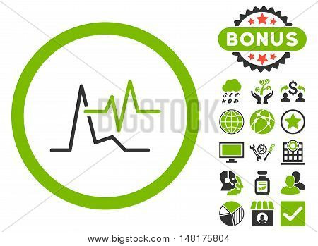 ECG icon with bonus design elements. Vector illustration style is flat iconic bicolor symbols, eco green and gray colors, white background.