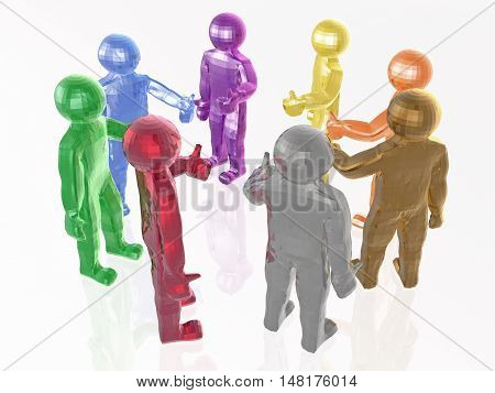 A group of color mans on the white background 3D illustration.