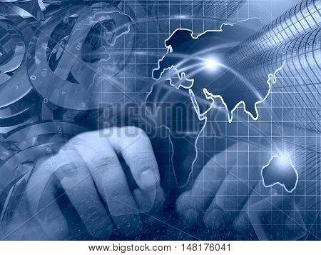 Computer background in blues with hands mail signs and map.
