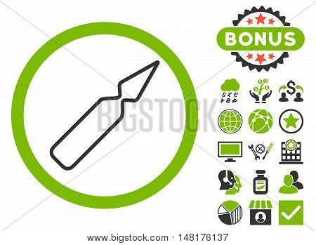 Empty Ampoule icon with bonus pictogram. Vector illustration style is flat iconic bicolor symbols, eco green and gray colors, white background.