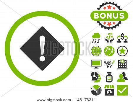 Error icon with bonus pictures. Vector illustration style is flat iconic bicolor symbols, eco green and gray colors, white background.
