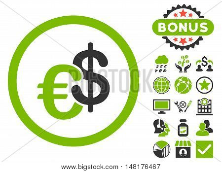 Euro and Dollar Currency icon with bonus symbols. Vector illustration style is flat iconic bicolor symbols, eco green and gray colors, white background.