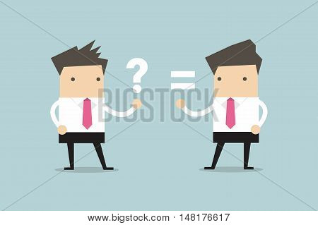Businessman talking about answer and question. vector illustration