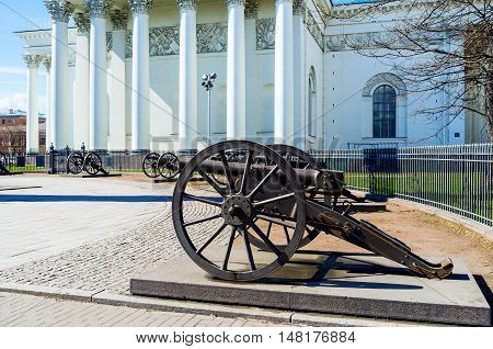 The old Turkish cannons surround the Memorial Column located at the Trinity Cathedral in Izmailovsky Prospekt St Peterburg Russia.
