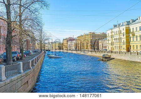 The Griboedov Canal surrounded by scenic mansions and places of historic interest St Petersburg Russia.