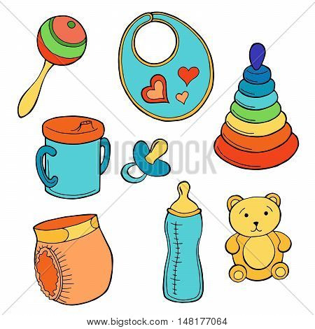 Baby set graphic art red yellow blue green color isolated illustration vector