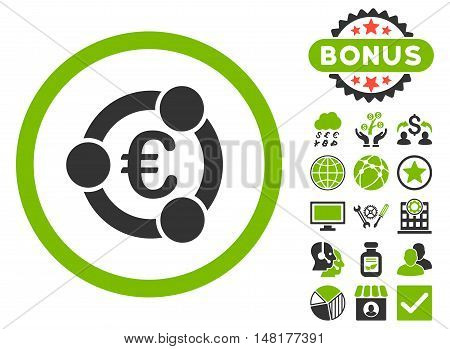Euro Collaboration icon with bonus elements. Vector illustration style is flat iconic bicolor symbols, eco green and gray colors, white background.
