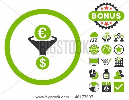Euro Dollar Conversion Funnel icon with bonus symbols. Vector illustration style is flat iconic bicolor symbols, eco green and gray colors, white background.