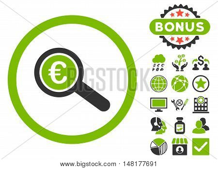 Euro Financial Audit icon with bonus design elements. Vector illustration style is flat iconic bicolor symbols, eco green and gray colors, white background.