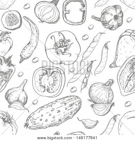 Seamless pattern with fresh vegetables. Tomato pepper cucumber chilli onion garlic and beans. Vector illustration for your design