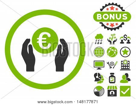 Euro Insurance Hands icon with bonus design elements. Vector illustration style is flat iconic bicolor symbols, eco green and gray colors, white background.