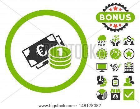 Euro Money icon with bonus pictures. Vector illustration style is flat iconic bicolor symbols, eco green and gray colors, white background.