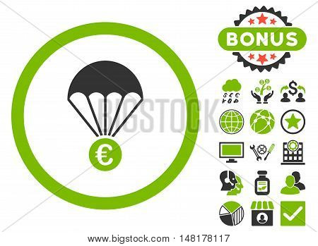 Euro Parachute icon with bonus elements. Vector illustration style is flat iconic bicolor symbols, eco green and gray colors, white background.