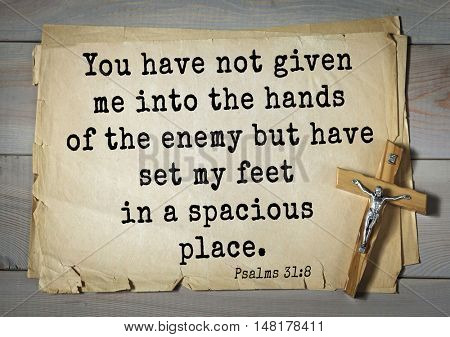TOP-1000.  Bible verses from Psalms.You have not given me into the hands of the enemy but have set my feet in a spacious place.