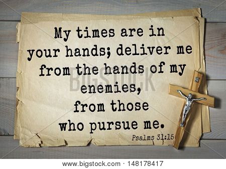 TOP-1000.  Bible verses from Psalms.My times are in your hands; deliver me from the hands of my enemies, from those who pursue me.