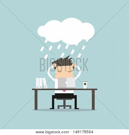 Businessman strain in the rainy clound. vector