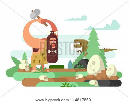 Primitive man with dinosaur. Caveman cartoon, prehistoric animal, neanderthal vector illustration