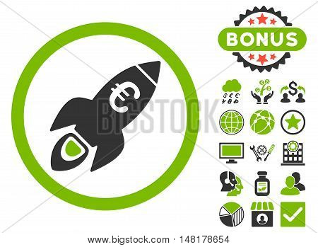 Euro Rocket Startup icon with bonus pictogram. Vector illustration style is flat iconic bicolor symbols, eco green and gray colors, white background.