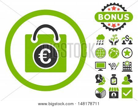 Euro Shopping Bag icon with bonus symbols. Vector illustration style is flat iconic bicolor symbols, eco green and gray colors, white background.