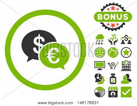 Euro Transactions icon with bonus pictures. Vector illustration style is flat iconic bicolor symbols, eco green and gray colors, white background.