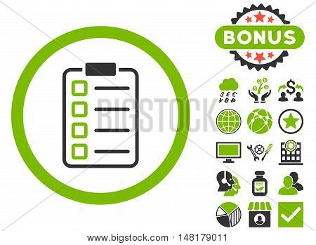 Examination icon with bonus symbols. Vector illustration style is flat iconic bicolor symbols, eco green and gray colors, white background.