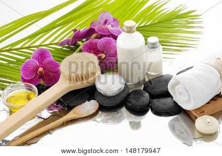 spa concept with palm ,towel, salt in bowl ,stones, candle,orchid