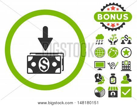 Get Dollar Banknotes icon with bonus pictures. Vector illustration style is flat iconic bicolor symbols, eco green and gray colors, white background.